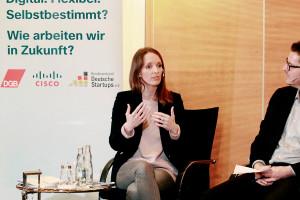 """Anna Kaiser von Tandemploy auf der Veranstaltung """"Digital. Flexibel. Selbstbestimmt?"""" von BVDS, Cisco Systems und dem DGB"""